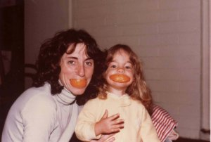 mom and me with oranges